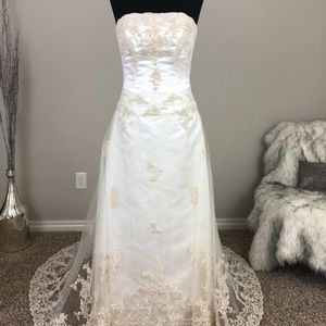 Dresses & Skirts - Wow! Champagne A-Line Wedding Dress